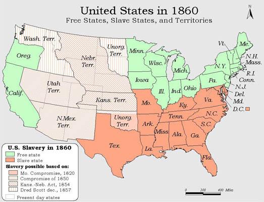 Map Of The United States In 1860 Thefreebiedepot